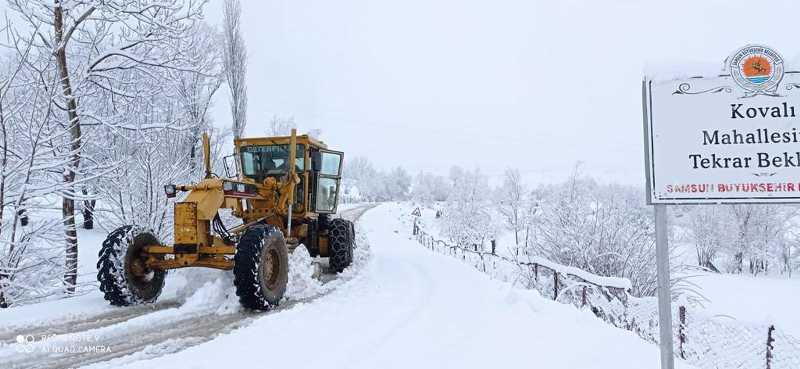 Samsun'da etkili kar yağışı…